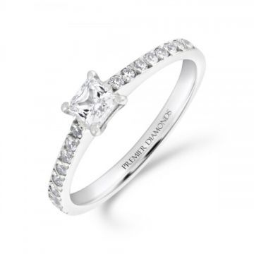 Modern princess cut diamond solitaire engagement ring with diamond set shoulders 0.40 carat
