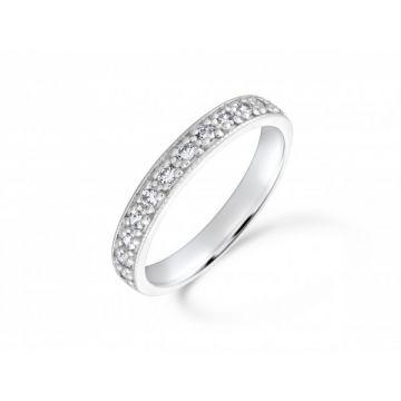 Antique style grain set with milgrain edge round brilliant cut diamond half eternity ring 0.26 carat