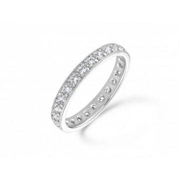 Antique style grain set with milgrain edge round brilliant cut diamond full eternity ring 0.50 carat