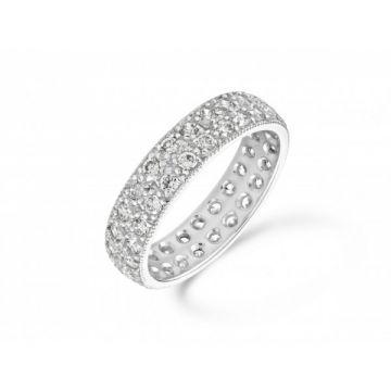 Antique style two row grain set with milgrain edge round brilliant cut diamond full eternity ring 1.00 carat