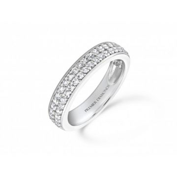 Dazzling two row three quarter set round brilliant cut diamond eternity ring 0.63 carat