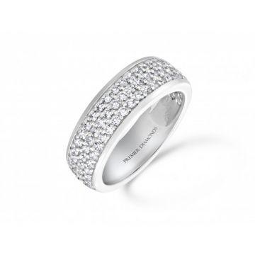 Dazzling three row three quarter set round brilliant cut diamond eternity ring 0.95 carat