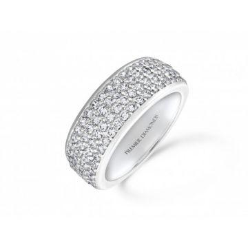 Dazzling four row three quarter set round brilliant cut diamond eternity ring 1.25 carat