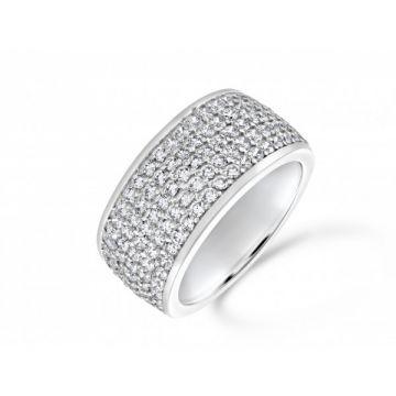 Dazzling five row three quarter set round brilliant cut diamond eternity ring 1.60 carat