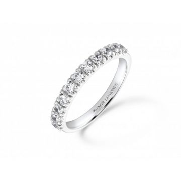 Classic 11 stone claw set round brilliant cut diamond half eternity ring 0.55 carat