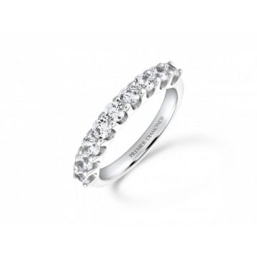 Modern 9 stone round brilliant cut diamond eternity ring 0.90 carat