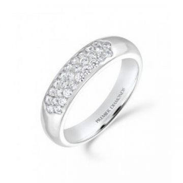 5.00mm tapered 3 row round brilliant cut diamond wedding band 0.43 carat