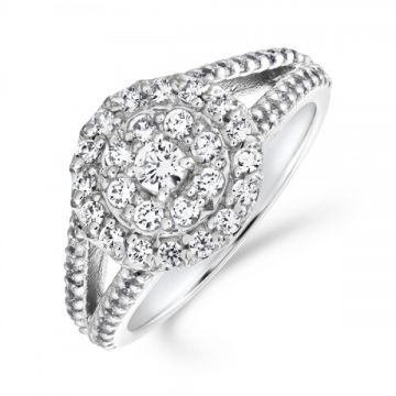 A dazzling triple row halo cluster ring with diamond set split shoulders 1.00 carat