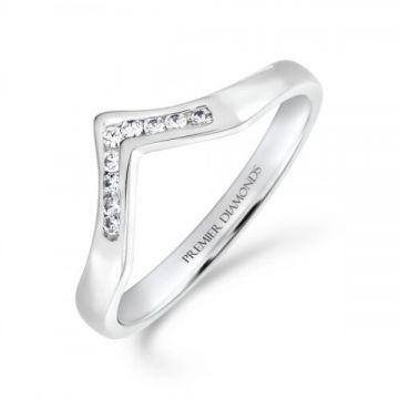 Classic channel set round brilliant cut diamond wishbone ring 0.09 carat