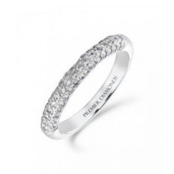 3.00mm tapered 3 row round brilliant cut diamond wedding band 0.50 carat