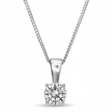Classic Four Claw Round Brilliant Cut Diamond Single Stone Pendant