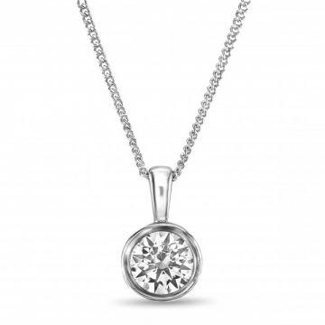 Modern Rubover Round Brilliant Cut Diamond Single Stone Pendant