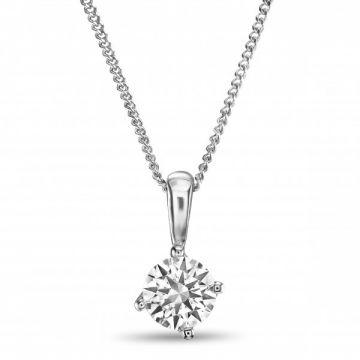 Four Claw Round Brilliant Cut Diamond Single Stone Pendant Fragrant Twist