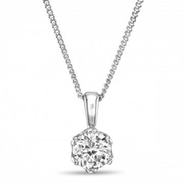 Traditional Six Claw Round Brilliant Cut Diamond Single Stone Pendant