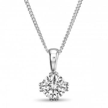 Modern Twin Claw Round Brilliant Cut Diamond Single Stone Pendant