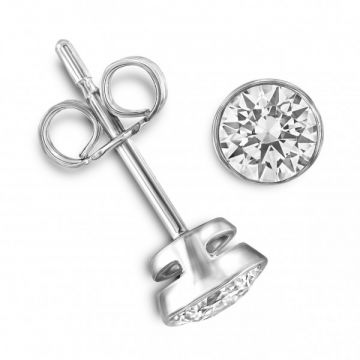 Modern Rubover Round Brilliant Cut Diamond Single Stone Earrings