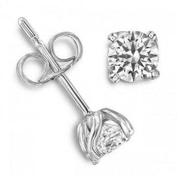 Four Claw Round Brilliant Cut Diamond Single Stone Earrings