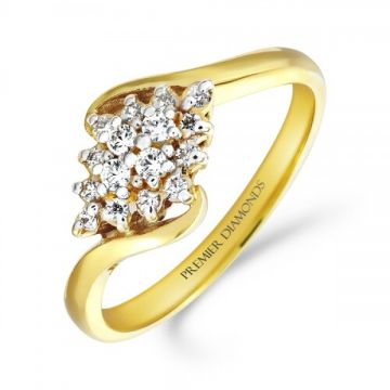 Classic diamond shaped cluster ring set on a twist 0.20 carat