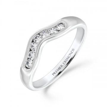 Rounded 7 stone channel set round brilliant cut diamond wishbone ring 0.21 carat