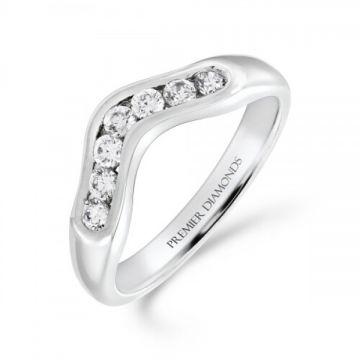 Rounded 7 stone channel set round brilliant cut diamond wishbone ring 0.30 carat