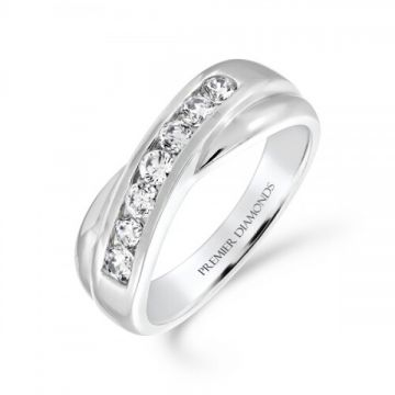 7 stone round brilliant cut diamond channel set crossover ring 0.45 carat