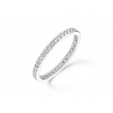 Delicate grain set round brilliant cut diamond full eternity ring 0.42 carat