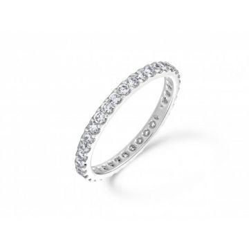Delicate claw set round brilliant cut diamond full eternity ring 0.72 carat