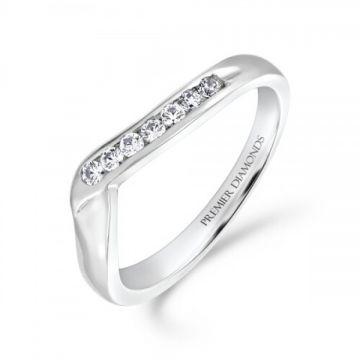 Half channel set round brilliant cut diamond wishbone ring 0.15 carat