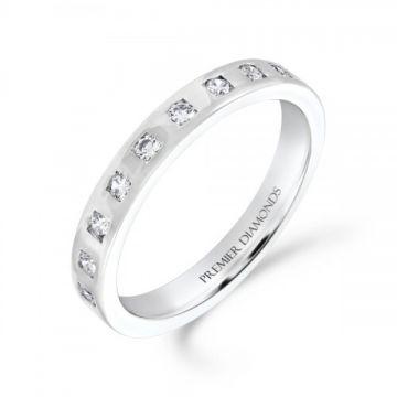 3.00mm classic heavy flat wedding band set with 9 round brilliant cut diamonds in a square design 0.18 carat