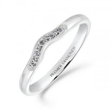 Delicately shaped 5 stone grain set round brilliant cut diamond wishbone ring  0.05 carat