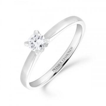 Classic four claw round brilliant cut single stone diamond engagement ring 0.20 carat