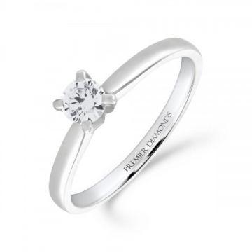 Classic four claw round brilliant cut single stone diamond engagement ring 0.25 carat