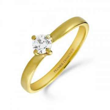 Sophisticated four claw round brilliant cut single stone diamond solitaire with a subtle twist 0.20 carat