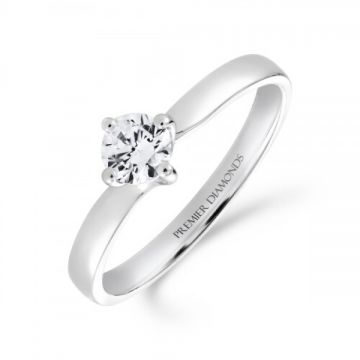 Sophisticated four claw round brilliant cut single stone diamond solitaire with a subtle twist 0.25 carat