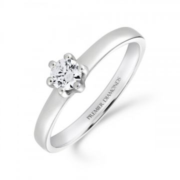 Classic six claw round brilliant cut diamond single stone engagement ring 0.20 carat