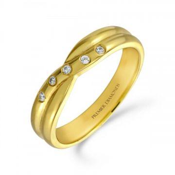 5 stone burnish set round brilliant cut diamond crossover ring 0.05 carat