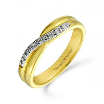 7 stone half set round brilliant cut diamond crossover ring 0.07 carat