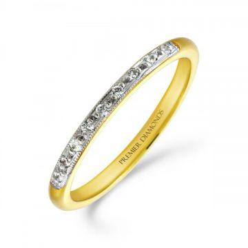 1.80mm heavy classic wedding band grain set with 9 round brilliant cut diamonds with a milgrain edge 0.09 carat