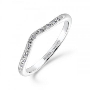 Delicate 9 stone grain set round brilliant cut diamond wishbone ring with milgrain edge 0.07 carat