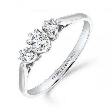 Traditional 3 stone round brilliant cut diamond trilogy ring 0.30 carat