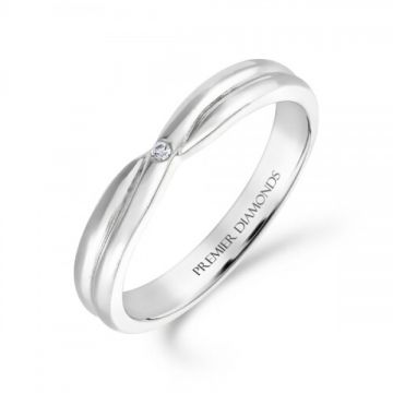 Single burnish set round brilliant cut diamond crossover ring 0.01 carat
