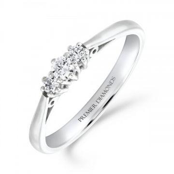 Classic six claw round brilliant cut diamond trilogy 3 stone ring 0.20 carat
