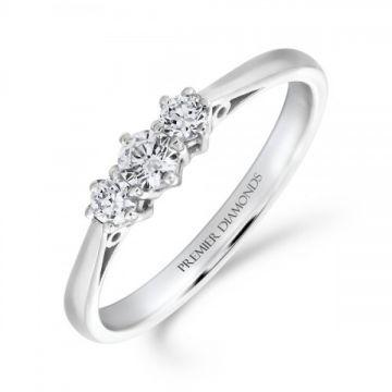 Classic six claw round brilliant cut diamond trilogy 3 stone ring 0.35 carat