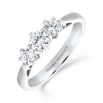 Classic six claw round brilliant cut diamond trilogy 3 stone ring 0.75 carat