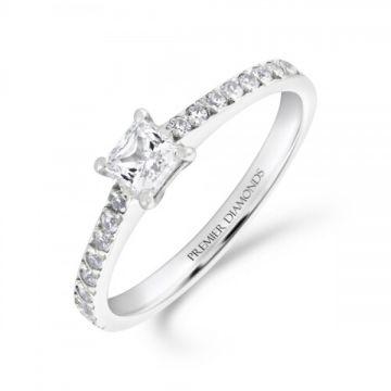 Modern princess cut diamond solitaire engagement ring with diamond set shoulders 0.40 carat