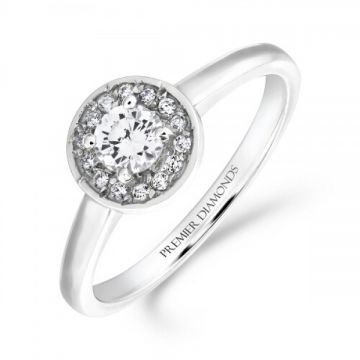 Delicate round brilliant cut halo diamond cluster ring with polished shoulders 0.35 carat