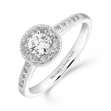 Delicate round brilliant cut halo diamond cluster ring with diamond detailed shoulders 0.40 carat
