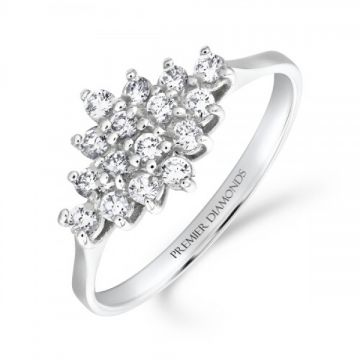 Classic diamond shaped cluster ring with polished shoulders 0.40 carat
