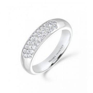 5.00mm tapered 3 row round brilliant cut diamond wedding band 0.43 carat