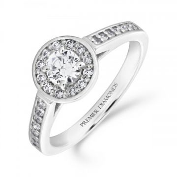 Stunning round brilliant cut halo diamond cluster ring with diamond set shoulders 0.60 carat